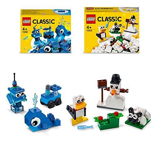LEGO Classic Mattoncini Blu Creativi più Mattoncini Bianchi Creativi, Costruzioni e Giochi Educativi per Bambini di 4+ Anni