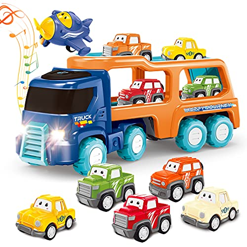 Toys for 1 2 3+ Year Old Boy,7 in 1 Cartoon Vehicles Playset Carrier Car Toy Truck Transport Car with Lights and Melodys,Friction Power Push and Go Toys Car for Toddler Party Birthday