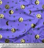 Soimoi Lila Poly Krepp Stoff Mond & Sterne Galaxis Stoff