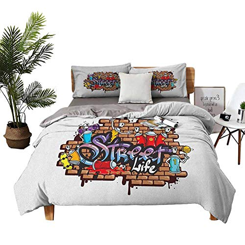 DRAGON VINES Four-Piece Bedding Hotel Luxury Bed Sheets Sheets Full Set Urban World Street Life Graffiti Art Spraycan Characters and Drippy Blotchy Letters Multicolor Printed Quilt Cover W80 xL90