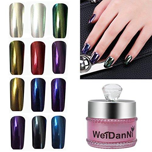 EgBert 12Pcs Mirror Chrome Effect Powder Set Magique Métallique Nail Art Pigment Additif Charme Manucure