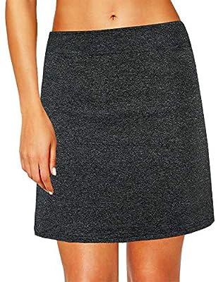 Oyamiki Women's Active Athletic Skort Lightweight Tennis Skirt Perfect for Running Training Sports Golf Black Heather