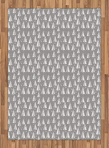ABAKUHAUS Kerstboom Tapijt, sneeuwvlokken Achtergrond, vlak Geweven Vloerkleed voor Woonkamer, Slaapkamer, Eetkamer, 160 x 230 cm, Pale Taupe en Vermilion
