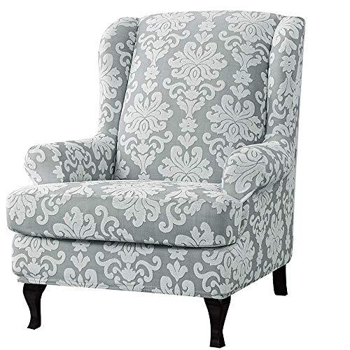 Funda para sillón de orejas de jacquard Fundas de sofá suaves elásticas universales elásticas Fundas de sillón de orejas de 2 piezas con fundas de brazos extraíbles (gris, sillón de orejas)