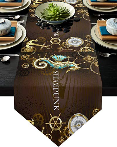 Triangle Cotton Linen Table Runners 108 Inches Long, Metal Hippocampus Compass Steering Wheel Home Decor for Wedding/Events, Machine Washable, Tabletop Collection Steampunk Wooden Grain Backdrop