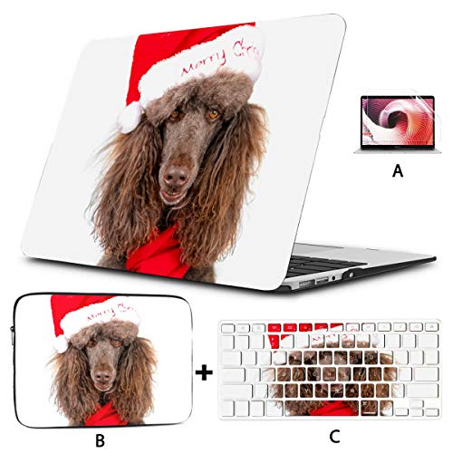 Estuches Macbook Pro Closeup Portrait Standard Poodle Christmas Santa Estuche Mac Pro Hard Shell Mac Air 11'/ 13' Pro 13'/ 15' / 16'con Funda para portátil para Macbook Versión 2008-2020