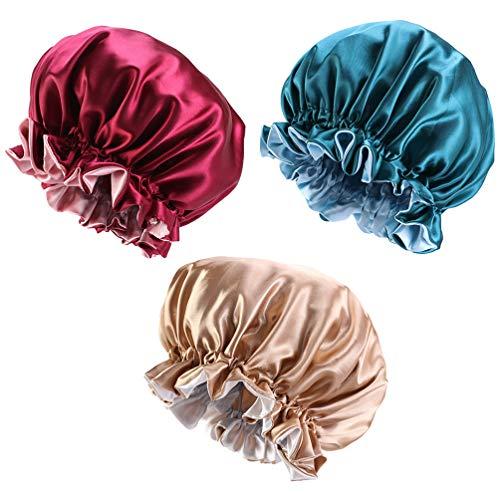 HEALLILY 3Pcs Bonnet de Bain en Satin Double Couche Femmes Bonnet de Nuit Large Bande Bonnet en Satin Élastique Bonnet de Nuit pour Les Voyages à Domicile (Kaki + Bordeaux + Bleu)