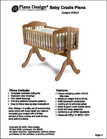 Nursery Baby Swing Cradle Bed Woodworking Plans -Design #5CRD2