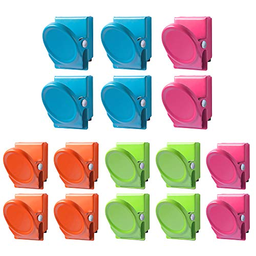 16 Pack Magnetic Clips Wellerly Magnetic Metal Paper Clips Holder Refrigerator Whiteboard Wall Fridge Locker Magnetic Memo Note Clips Magnets Metal Clip  Set of 16 in 4 Clolors