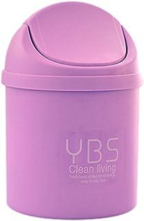 Dolloress Simple Mini Wastebasket 1.5L Plastic Trash Can Table Desktop Litter Storage Bin with Swing Lid for Living Room O...
