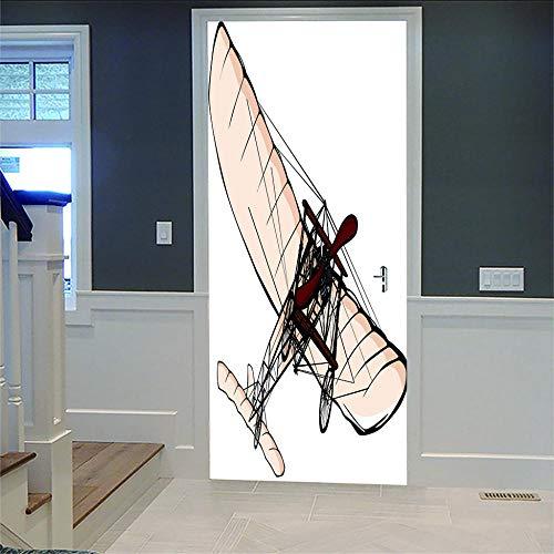 3D zelfklevende sticker voor deuren, vliegtuig, creatief, voor woonkamer, slaapkamer, deur, 3D, badkamer, keuken, kinderkamer, om zelf te maken, deur, wand, 77 x 200 cm