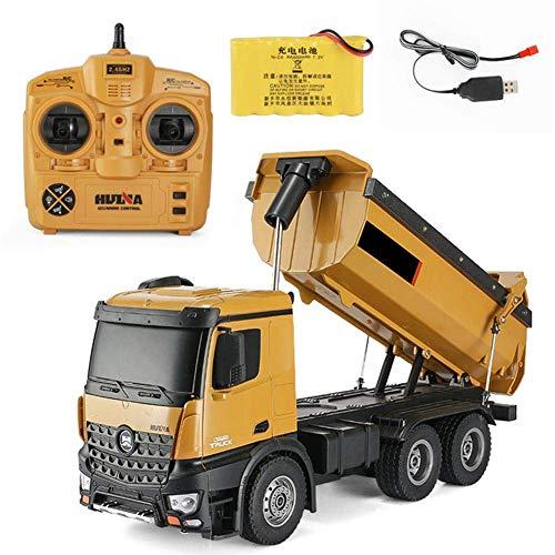 RCTOYS afstandsbediening, muldenkipper vrachtwagen voor professionele draadloze kanalen, 2,4 G 1:14, met 1 batterij, LED-lampen en geluiden