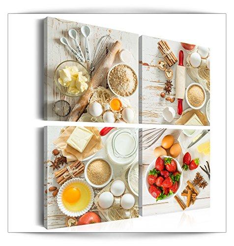 decomonkey Bilder Küche 40x40 cm 4 Teilig Leinwandbilder Bild auf Leinwand Vlies Wandbild Kunstdruck Wanddeko Wand Wohnzimmer Wanddekoration Deko Küchenbilder weiß
