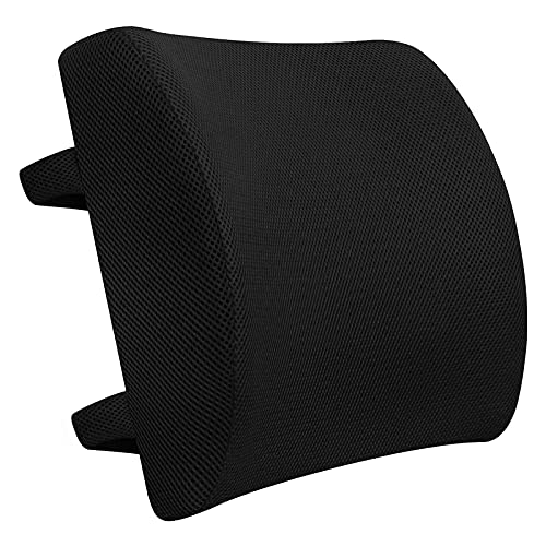 Flyzy Back Support Pillow Memory Foam Lumbar Support Pillow for Chair, Car Back Cushion with Adjustable Strap, Side Pocket