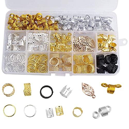 sharprepublic 200x Metal Hair Jewelry Anillos Colgantes Coil Dreadlocks Beads Braid Tube Hair