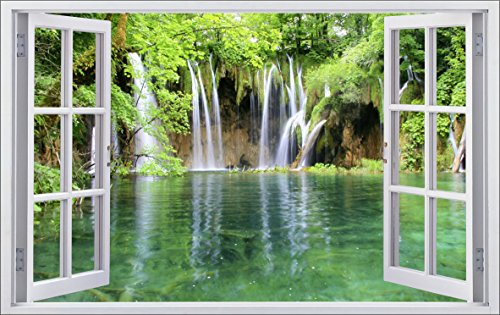 DesFoli Fenster 3D-Optik Wandtattoo 70 x 110 cm Wandbilder Sticker Aufkleber Bild (F011)