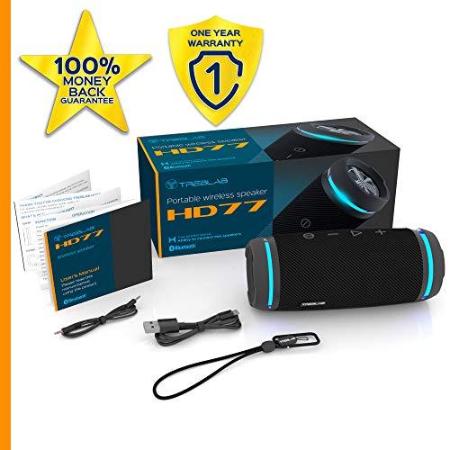 TREBLAB HD77 Revolucionario Altavoz Bluetooth portátil, 360 ° de Verdadero estéreo inalámbrico, Sonido de 25 W HD, Graves potentes, 12 h de Juego, LED Ambiente, Mejor para Deportes al Aire Libre IPX6