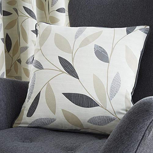 Fusion Beechwood Leaf Trail 100% Cotton Cushion Cover, Charcoal, 43 x 43 Cm