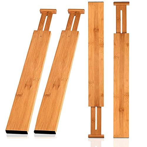 Wooden-Life Schubladen Organizer, Schubladentrenner, Schubladenteiler, Die 4er-Set Bambus Schubladentrenner geeignet für Küche, Kommode, Schlafzimmer, Baby Schublade, Bad, Schreibtisch