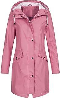 2672ae5bc08 Nadition Women s Windbreaker 🌲 Fashion Solid Rain Jacket Outdoor Hoodie  Waterproof Long Coat Windproof Overcoat