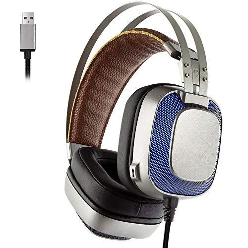 QJGhy E-Sports Gaming Headset USB avec Microphone Casque 7.1 canaux stéréo Haute fidélité avec des lumières LED de Couleur pour PC