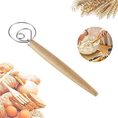 Batidor danés de pan de masa Whish, Abnaok de 33 cm de acero inoxidable y madera danés – Batidora artesanal de estilo holandés para pan, batear, pasteles, pasteles y más