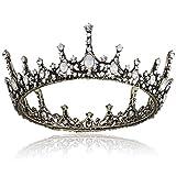 Coucoland Tiara de novia para boda, corona redonda de lujo, corona de princesa, corona de cumpleaños, corona de reina, corona de carnaval
