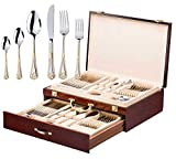 Italian Collection 'Seashell' 75-Pс Premium Flatware Set w/ Wooden Storage Case, Dining Cutlery Service for 12, 24K Gold plated 18/10 Stainless Steel Hostess Serving Set in a Chest