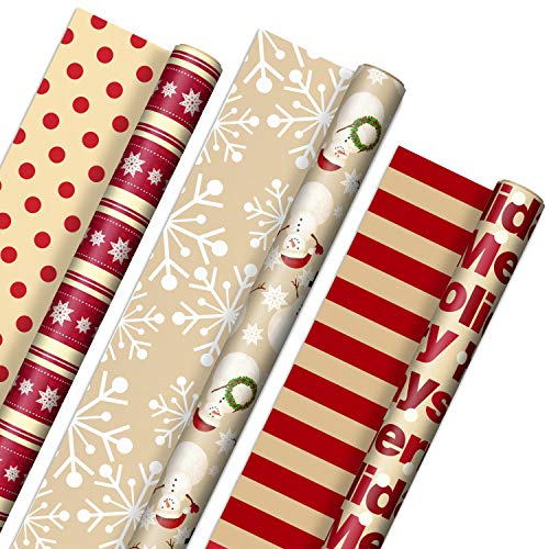 Hallmark Reversible Christmas Wrapping Paper (3 Rolls: 120 sq. ft. ttl) 'Merry Holidays,' Snowflakes, Snowmen, Red Stripes