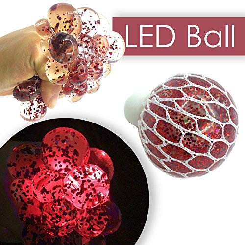 Upgraded LED Anti Stress Ball - Squeeze Stress Relief Toy for Kids Adults - Mesh Squishy Grape Ball for Home School Office - Best Fidget Party Favors Supplies Slime Light up Prime Gift - Red