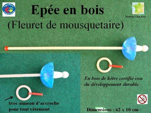 Epée de mousquetaire en bois, fleuret bleu, solide et durable, artisanat Français.