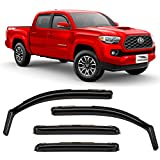 Voron Glass in-Channel Extra Durable Rain Guards for Trucks Toyota Tacoma 2016-2021 Double Cab, Window Deflectors, Vent Window Visors, 4 Pieces - 220056