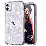 ICEDIO iPhone 11 Case with Screen Protector,Clear with Elegant White Blooming Floral Patterns for Girls Women,Shockproof Slim Fit TPU Cover Protective Phone Case for Apple iPhone 11 6.1 inch i phone protector case May, 2021