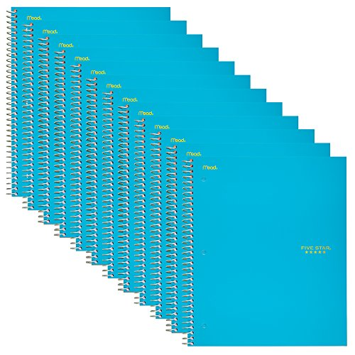 """Five Star Spiral Notebook, 1-Subject, College Ruled Paper 100 Sheets, 11"""" x 8-1/2"""", Teal, 12 Pack (72454)"""