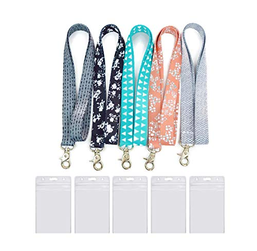 Cute Lanyard (5 Pack) – Cool Keys Lanyard - Durable and Premium Quality Key Lanyard for Women with ID Badge Holders