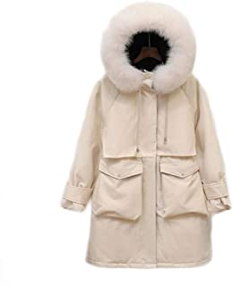 Women's Down Jacket, Winter Outdoor Warm Padded Jacket, Loose Long Sleeve Hooded Winter Clothing (Color : Beige, Size : S)