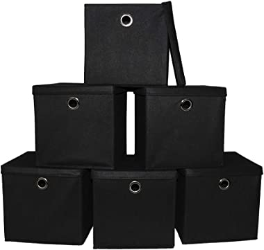 Pezin & Hulin 6 Pack Foldable Storage Cubes with Lid and Metal Eyelet Handle, Fabric Storage Bins 11 x 11 x 11 inch, Collapsi