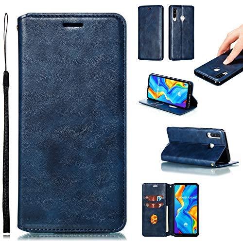 Hülle Handyhülle for Huawei P30 Lite/nova 4e, Premium Leder Flip Schutzhülle [Standfunktion] [Kartenfächer] [Magnetverschluss] lederhülle klapphülle für Huawei P30Lite - TTYKB020334 Blau