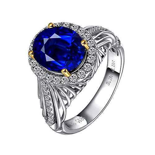 YCGEMS Anillo de eternidad de Oro Blanco de 18 Quilates, Zafiro Azul y Diamantes, joyería de Compromiso de Boda (5.29CT, Azul Real),M
