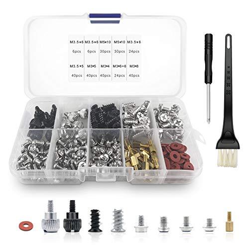 Boloest Juego de tornillos para ordenador (280 piezas, M3, M3,5, M5, con destornillador, cepillo de limpieza antiestático, tornillos de separación para placa base, disco duro y ventilador de ordenador