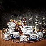 15 Pieces Porcelain Tea Set Bone China Cups Sets Ceramic Coffee Set Vintage Afternoon Tea Set Wedding Tea Service For Adults