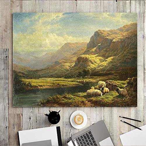 wZUN Decoración del hogar impresión Lienzo Pared Arte Imagen Cartel Pintura rectángulo Horizontal Bosque Animal Caballo ovejas natación 50x60 Sin Marco