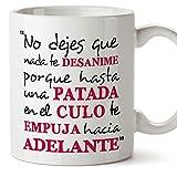 MUGFFINS Taza Original con Mensaje Gracioso - No Dejes Que Nada te desanime - cerámica 350 ml - Tazas con Frases...