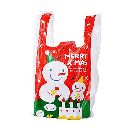 (18 * 10 * 35cm) 100 pz Sacchetti Plastica Borse Natale con Manici Colorate Regalo Shopping Alimenti Dolci Bags