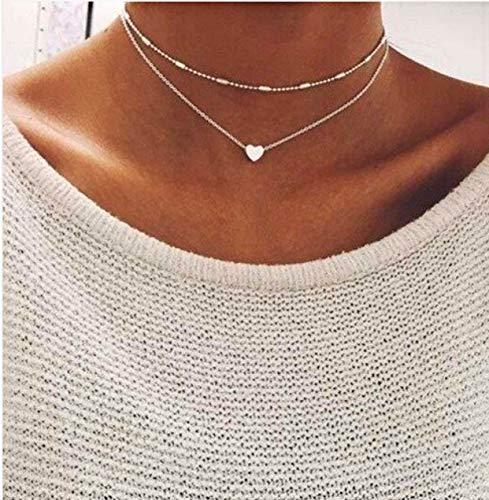 Frauen Doppelkette mit kleinem Herz in Silber | Damen Schmuck aus Edelstahl | Kette für Mädchen mit Verschluss
