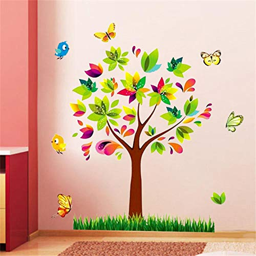 Tatuajes de pared y imágenes de árbol, pájaros, vinilo adhesivo decorativo para pared