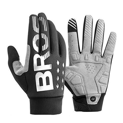 Fahrradhandschuhe stoßfeste, verschleißfeste, vollwertige, Winddichte Handschuhe für Männer und Frauen, atmungsaktiv, verlängerte, warme Mountainbike-Handschuhe - S209BK, M,