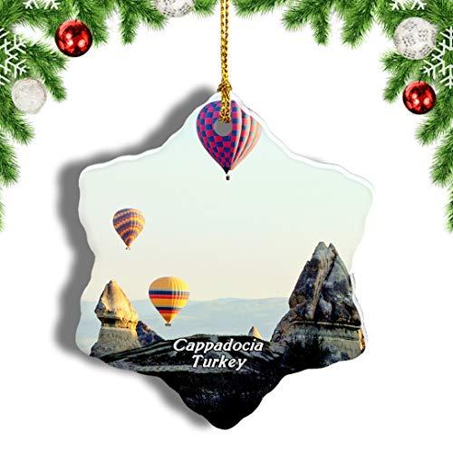 Weekino Globo de Aire Caliente de Turquía Capadocia Decoración de Navidad Árbol de Navidad Adorno Colgante Ciudad Viaje Porcelana Colección de Recuerdos 3 Pulgadas