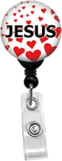 I Love Jesus - Retractable Badge Reel ID Card Name Tag Custom Badge Holder With Hearts Background (Black Badge Reel With Spring Pinch Clip)