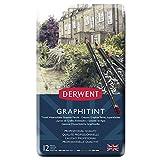 Derwent Graphitint - Lápices de grafito (12 colores, en estuche de metal)